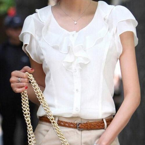Strand Oberteile Hemden Bluse T-Shirt RundenHals Beiläufig Rüschen Taste Neu
