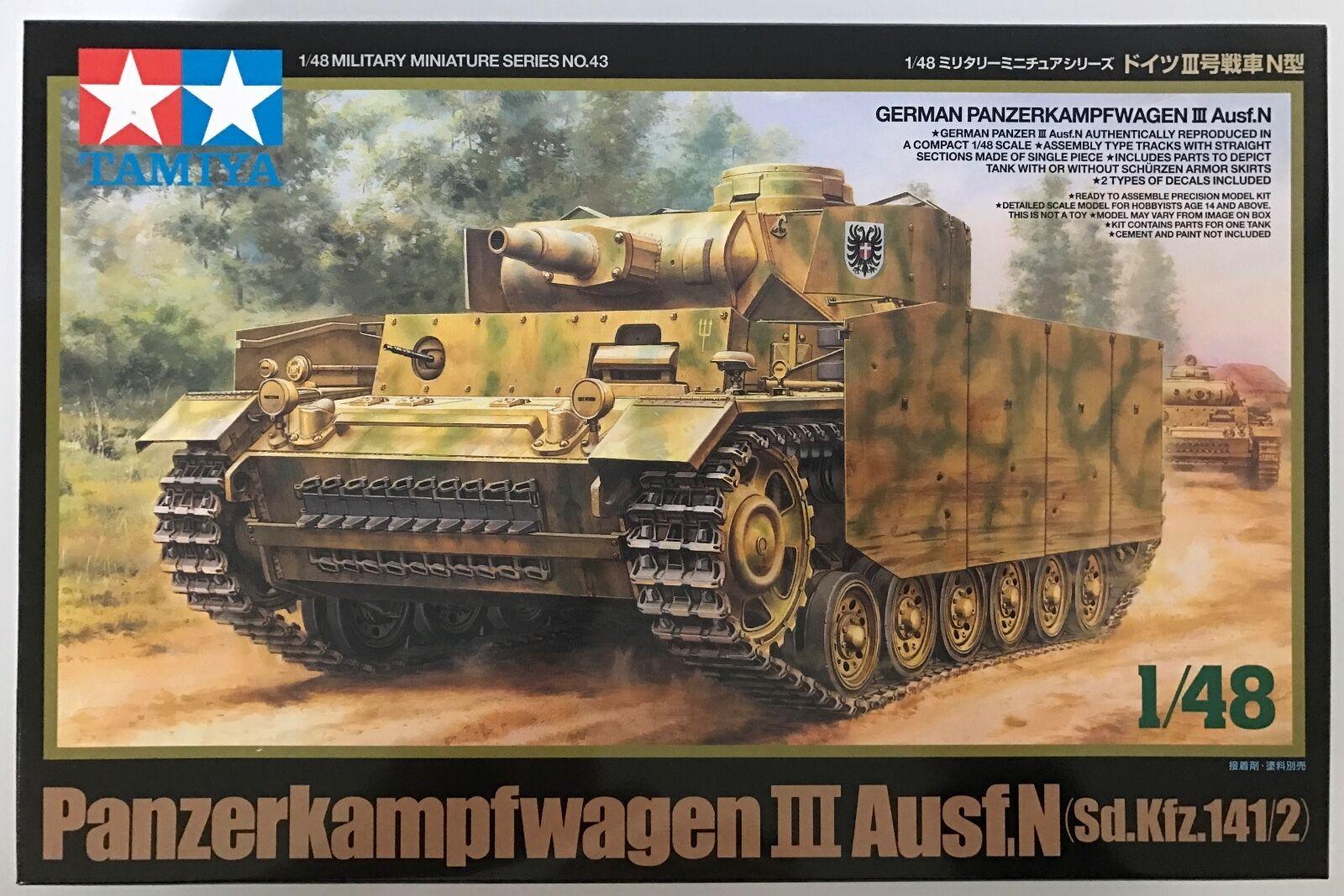TAMIYA 32543 Panzerkampwagen III AuSF.N (Sd.Kfz.141  2) 1  43 Förlaga Kit NIB