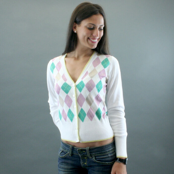 Conte of Florence CARDIGAN COTTON mod. RHOMBUS White Pink