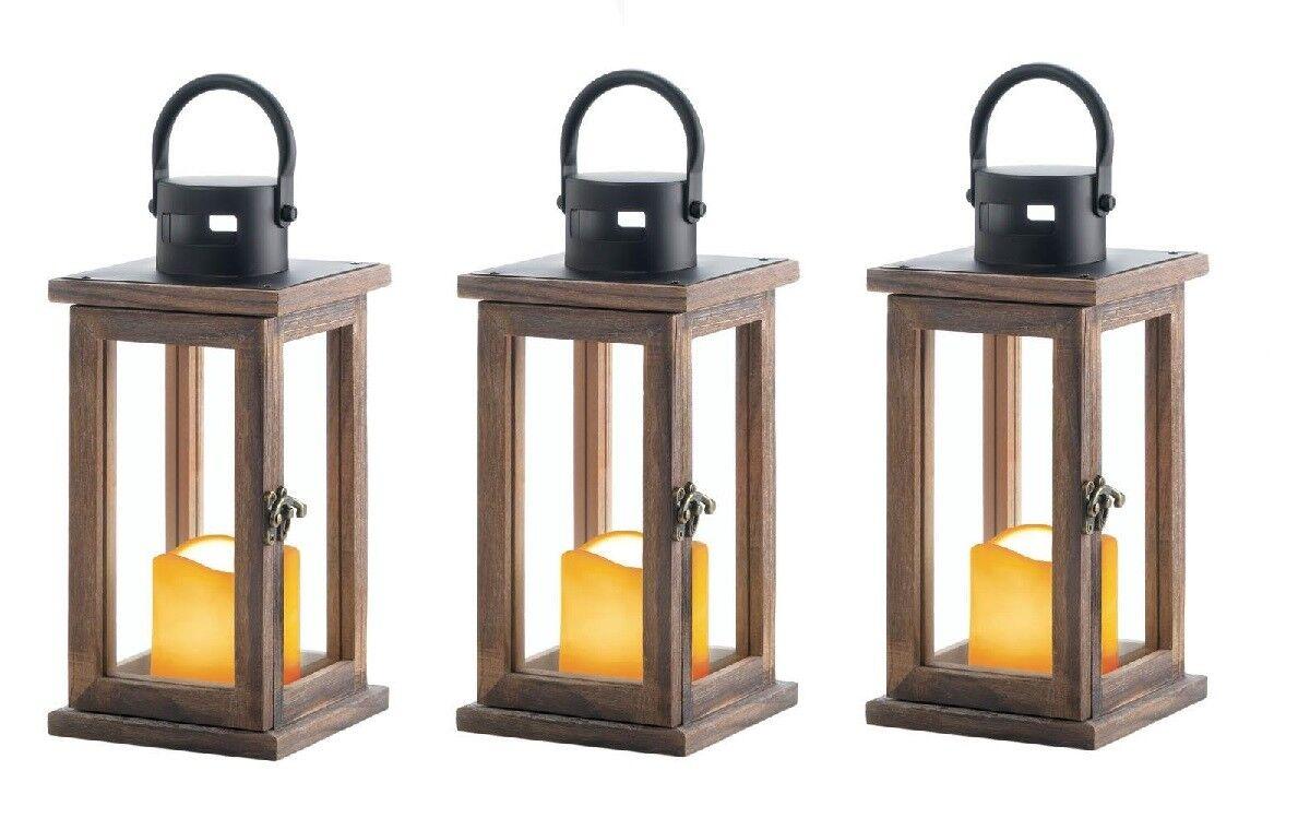 3 brown Wood & metal 10  Lantern LED flameless Candle holder Lamp light wedding
