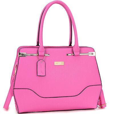 Dasein Fashion Faux Leather Gold-Tone Satchel Shoulder Bag Handbag