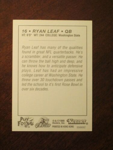 Ryan Leaf 1998 Kenner Starting Lineup Card San Diego Chargers