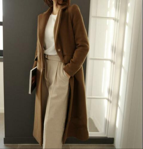 Long Jacket Kvinders Chic Cashmere Wool Slim Overcoat Parkas Coat Single breasted qZRTxq