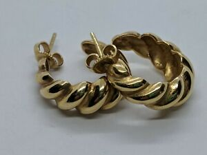 Rare Retired James Avery 14k Yellow Gold Fluted Scallop Hoop Earrings 0 75 Ebay