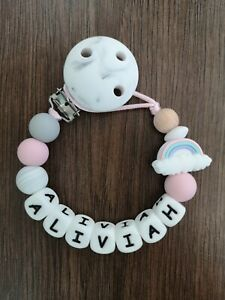 Baby Girl  gift Full Silicone Personalised Dummy Clip