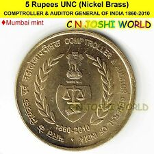 COMPTROLLER & AUDITOR GENERAL OF INDIA 1860-2010 Nick-Brass Rs 5 UNC # 1 Coin