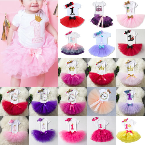 1st Birthday Girls Baby Romper Princess Dress Outfit Set Tutu Skirt Headband Set