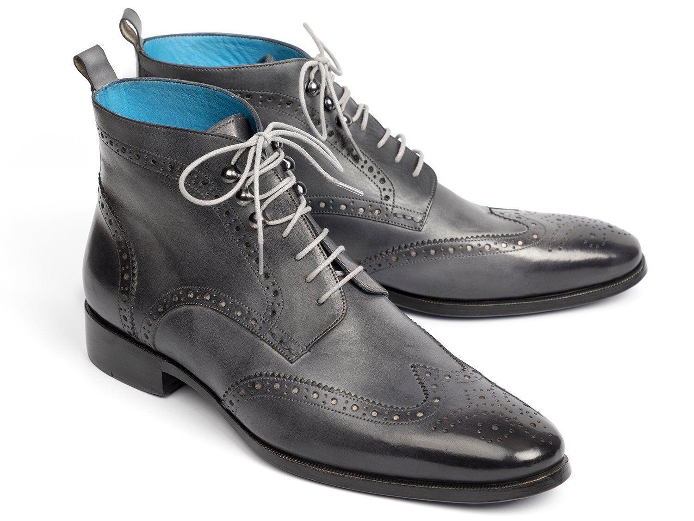 Paul Parkman punta del ala gris botas al Tobillo Zapatos hecho a mano pintada a mano