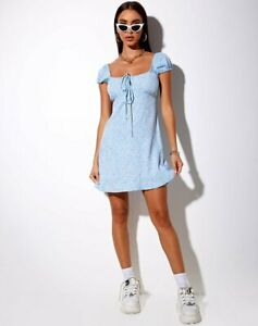 MOTEL-ROCKS-Galaca-Mini-Dress-in-Ditsy-Rose-Blue-Extra-Small-XS-mr49