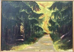 Impressionist-Hermann-Feltendal-Waldweg-zwischen-Tannen-53-x-70-cm