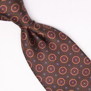 Josiah-France-Mens-Silk-Necktie-Brown-Gold-Red-Blue-Geometric-Print-Tie-Italy