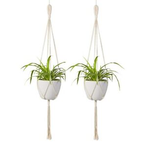 Macrame-Plant-Hanger-2Pcs-Indoor-Outdoor-Wall-Hanging-Planter-Basket-Cott-W2A2