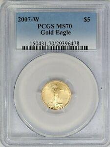 2007-W PCGS $5 American Gold Eagle MS70 Classic Blue Label