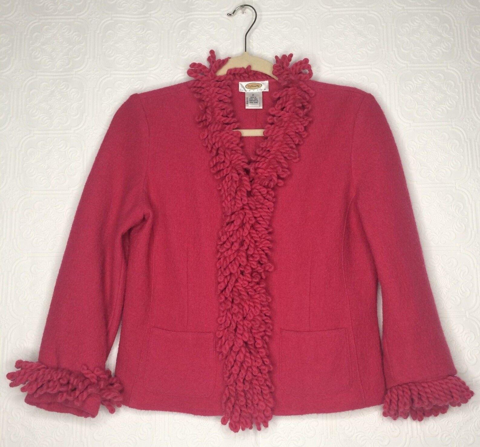 Talbots Petites Womens Pink Wool Cardigan Blazer with Fringe Detail Size P