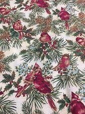 Cardinals Pine Cones Holiday Winter Wonderland Cotton Fabric Quilt Sew OOP BTHY