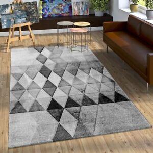 Designer-Teppich-Bunte-Raute-Muster-Konturenschnitt-Grau-Anthrazit-Creme-Meliert