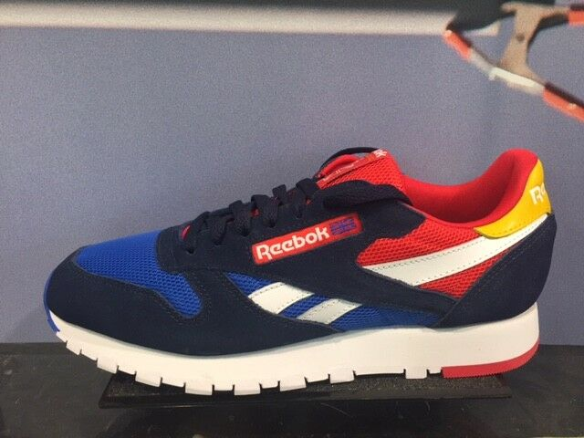Reebok Classic Leather Navy Vital azul rojo blanco amarillo GS MEN Sz 4-13 New