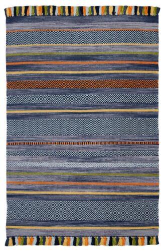 STRIPED CHARCOAL GREY MULTI Colour Cotton KILIM Handwoven Rug Runner Cushion /%/%