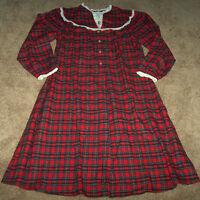 Lanz Of Salzburg Red Plaid Flannel Nightgown Pajamas Lace Ladies M Xmas Gift