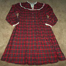 NWT Lanz of Salzburg Red Plaid Flannel Nightgown Pajamas LACE Ladies M XMAS Gift