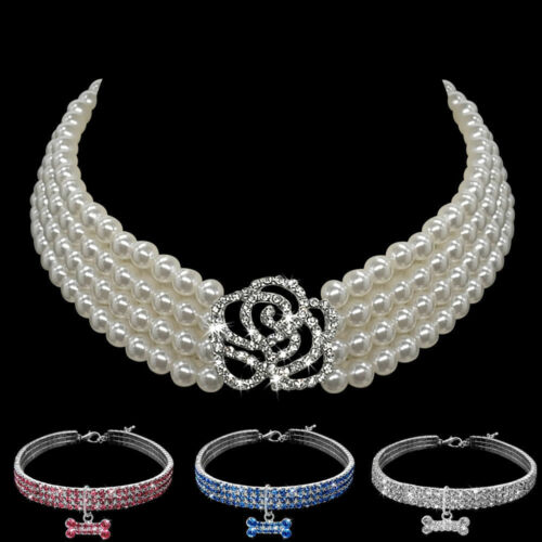Bling Rhinestone Dog Collar Small Doggie Puppy Pearl Necklace for Poodles L Size