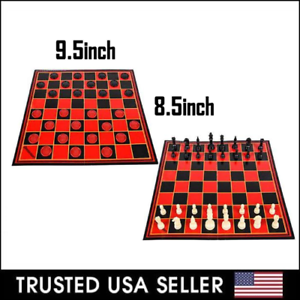 2 in 1 Folding Chess Checkers Set Board Game Checkers Toy Strategy Pass Time US