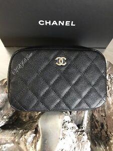 dcbe7cf44a74 NWT CHANEL Black Caviar Beauty CC O-Case DEEP Pouch 2018 Coco Voyage ...