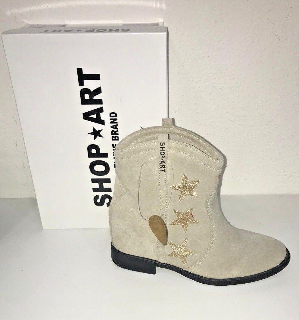 SHOP ART Stiefel N.38 Frau SHA02W Beige Niedrig