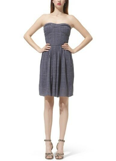 Rebecca Taylor Steel Grey Charlie Strapless Dress NWT 8