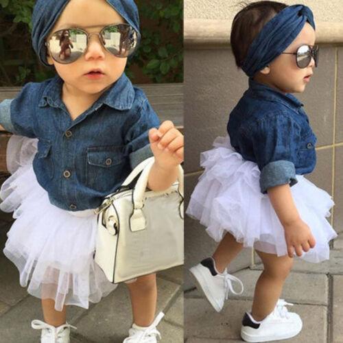 Kleinkind Kinder Kleines Mädchen Denim Tops Shirt Haarband Tüll Tutu Rock