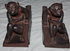 Vintage Monkey Book End Holder Set of 2 Heavy Resin Figurine Statue Ape Bookends