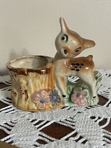 Vintage Japan Deer Fawn Ceramic Planter Pot  succulent