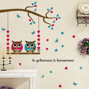 Wall-Stickers-Home-Decor-Cartoon-Owl-Birds-Branch-Removable-Kids-Decor-MuralTDCA