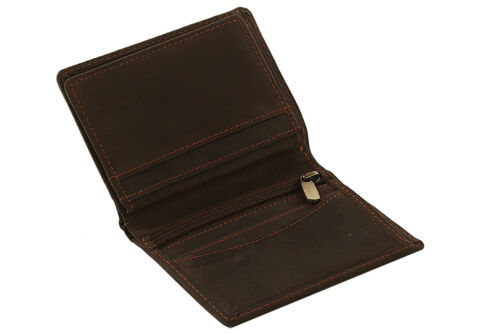 Mens RFID BLOCKING Real Distressed Hunter Leather Coin Pocket Wallet 4081 Brown