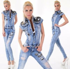 7983aef207c Image is loading Sexy-Womens-Denim-Jumpsuit-stretch-Overalls-skinny-Jeans-