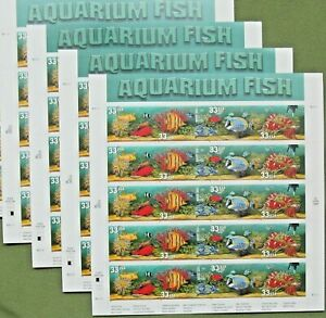 Four Sheets x 20 = 80 of AQUARIUM FISH 33¢ US PS Postage Stamps. Sc # 3317-3320