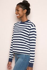 79c935cb87a Image is loading brandy-melville-Blue-White-Striped-long-sleeve-Crewneck-