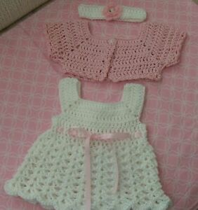 Handmade Crochet baby dress,headband//Shoes diaper cover-Rocky Mountain Marty