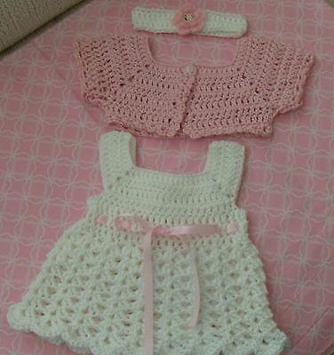 You choose the size.Handmade Crochet baby dress,headband//Shoe-RockyMountainMarty