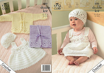 Dress and Hat DK King Cole 3251 CROCHET PATTERN Baby//Toddlers Jackets