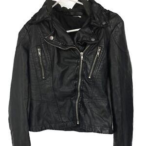 Free People Womens Size 4 Black Faux Leather Moto Jacket Ladies