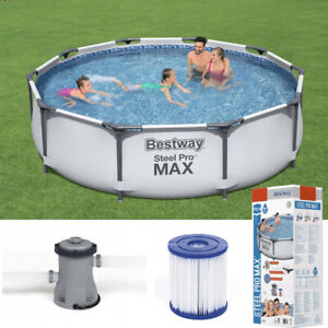 Garden Swimming Pool 305 Cm 10ft Round Frame Above Ground Pool With Pump Set Ebay