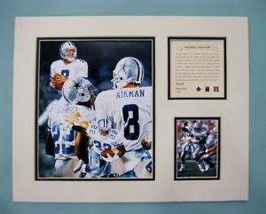 Cowboys Troy Aikman/Emmitt Smith 1996 Football 11x14 MATTED Kelly Russell Print