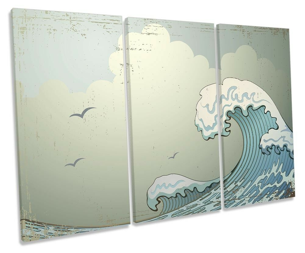 Crashing Beach Wave TREBLE CANVAS WALL ARTWORK Print Art