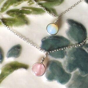 Dainty-Piedra-Lunar-amp-Cuarzo-Rosa-En-capas-Collar-de-Plata-de-Ley-Oro-Oro-Rosa