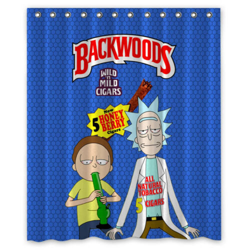Backwoods Rick And Morty Smoke Custom Shower Curtain Size 60x72 and 66x72