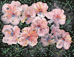 Gustave Bourgogne, Light Pink Flowers – Mid-20th-century gouache painting