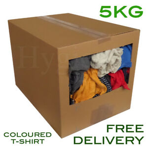 5Kg Dispenser Box Of Mixed T-Shirt Tshirt Rags Wiper Material ... 35a69cdcf37