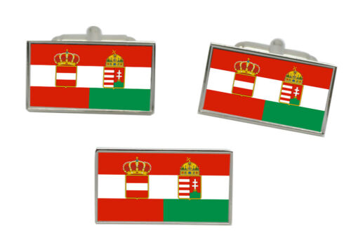 Autriche-Hongrie Drapeau Boutons de Manchette et Épingle de Cravate Ensemble