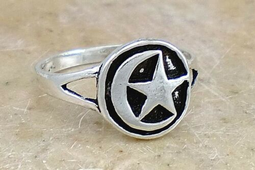 Unique Sterling Silver Crescent Moon N Star Ring Taille 6 Style # r2334